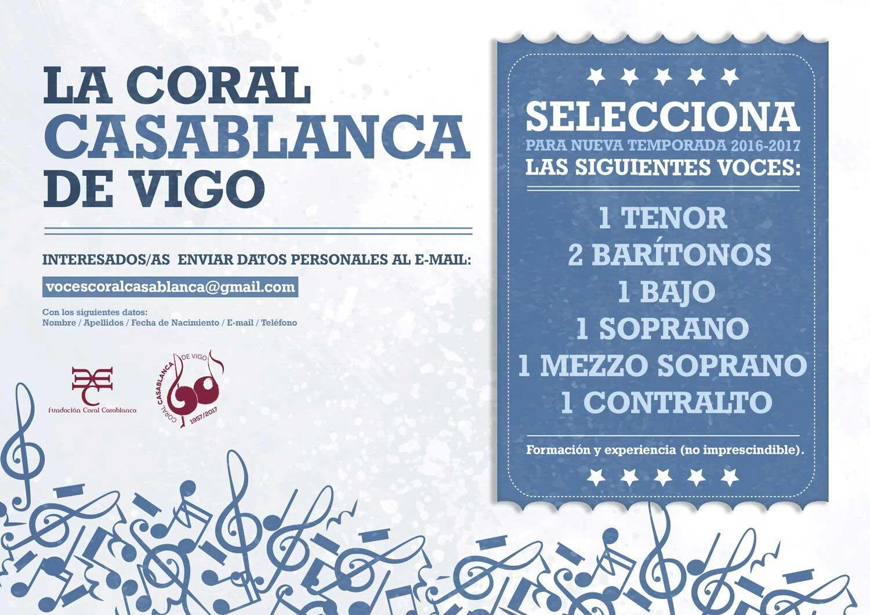 Convocatoria Selección De Voces Coral Casablanca