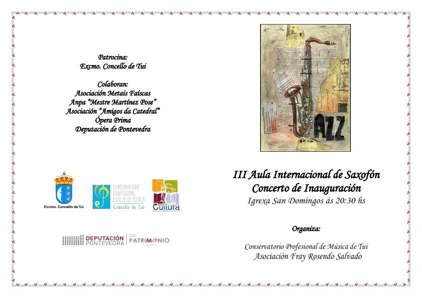 Concierto Inauguración III Aula Internacional De Saxofón -Tui